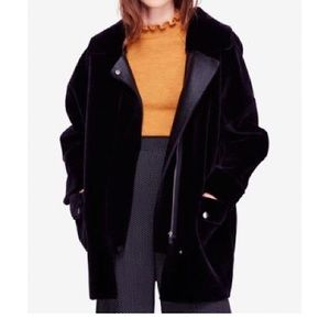 Free People Lindsay Faux Sherpa Black Coat Size M